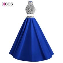 Pailletten Perlen Halter Zwei Stück Royal Blue Prom Kleider 2018 A-Line Formale Frauen Party Kleid Abendkleid Vestidos de Festa
