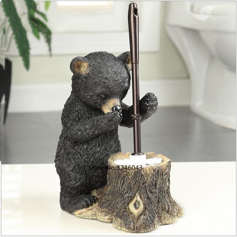 European creative toilet brush set soft hair base plastic long handle toilet brush bathroom bear decoration