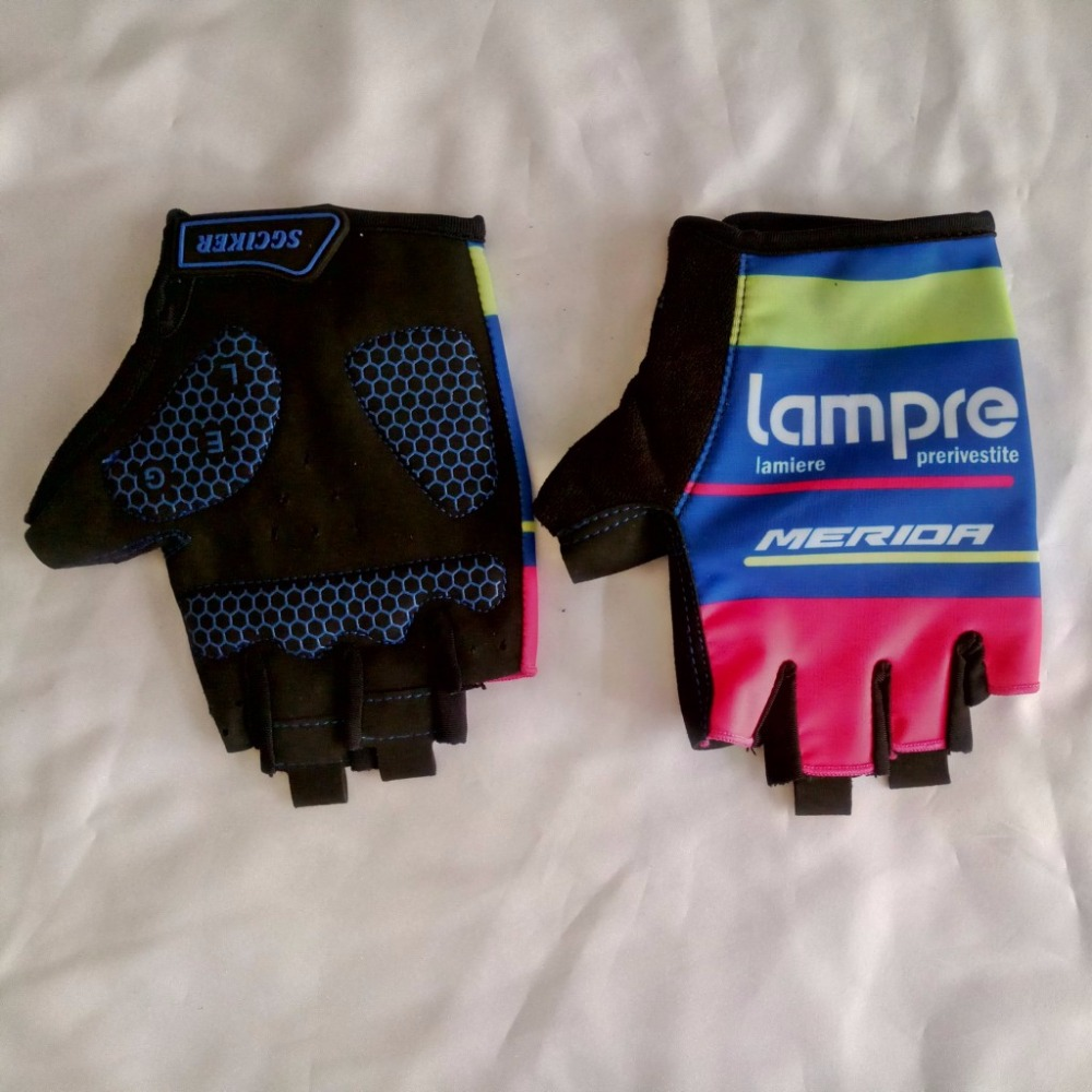 pro team lampre merida gloves GEL shock absorption Cycling gloves high quality summer half finger racing biking gloves Size m-XL outdoor cycling half finger protective fiber gloves yellow black grey pair xl size