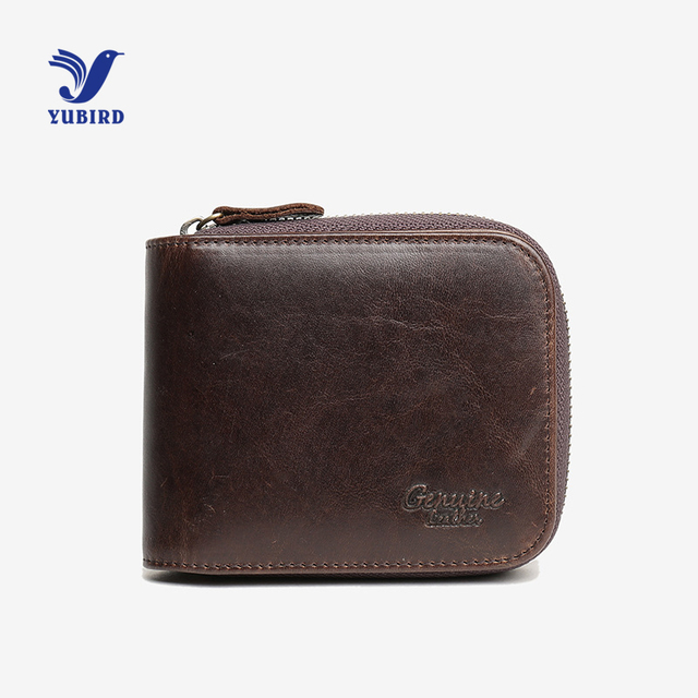 Fashion Genuine Leather Zipper Wallet Men Short Standard Wallet Vintage Purse Men Small Wallets Card Holder Coin Pocket Black