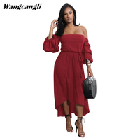 Wangcangli 2017 Europe And America Women Colorful Dress Outfit Hot Style Irregular Shoulder Bubble Of Seven