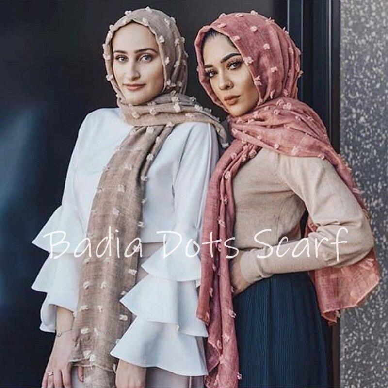 Цельнокроеный однотонный шарф в горошек, хиджаб, большой шарф,  шаль в стиле ислам, мягкие длинные мусульманские хлопковые накидки,  простой хиджабЖенские шарфы