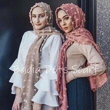Jednoczęściowy w jednolitym kolorze gładka kropka hidżab szalik oversize islam szal głowy okłady miękka długa muzułmańska mieszanka bawełny hidżaby bez wzorów
