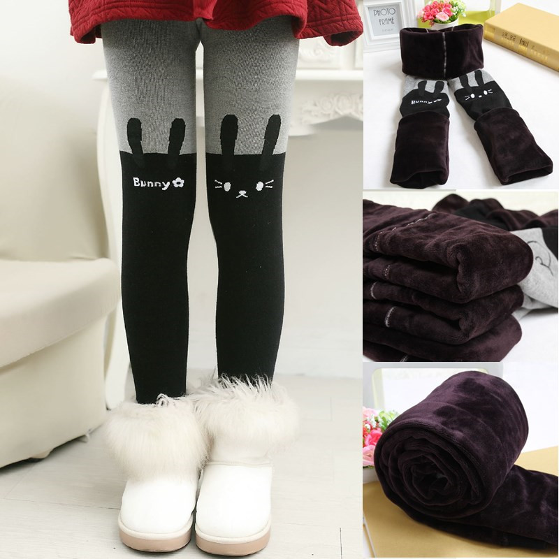 Cartoon Autumn Winter Clothing Baby Girls Leggings Children Pants Thick Warm Elastic Waist Kids Clothes Leggings Girl Trousers 4t 14t children s clothing pants leggings warm three layers plus plush thickening cotton baby girl clothes winter children