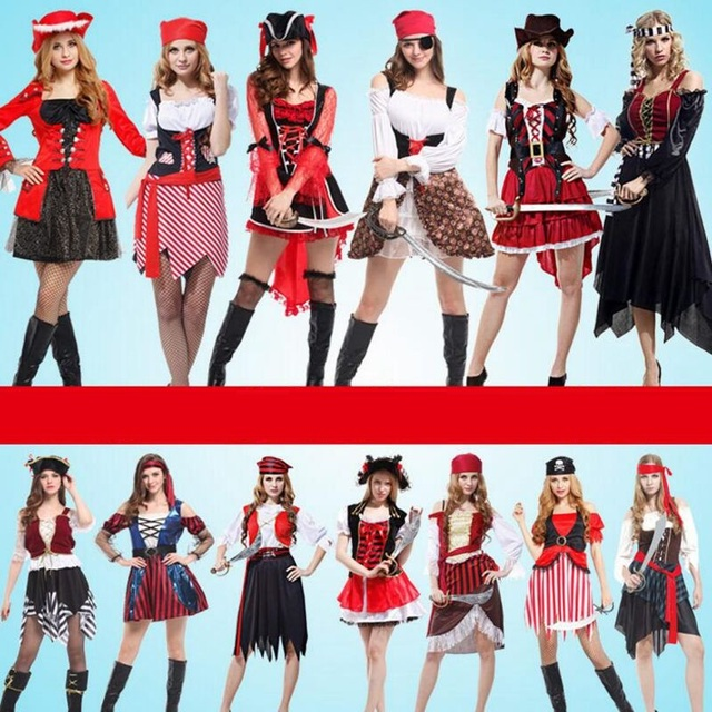 New Arrival Halloween Carnival Party Costume Captain Pirate Costumes Adult Fancy  Dress Cosplay Clothing for Women Men Lover d82aef1a500f