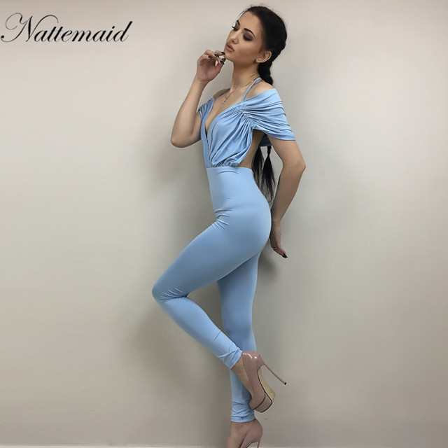 c5d88e3139 NATTEMAID 2017 Spring deep v neck chiffon jumpsuit Women elegant halter  romper Pleated long playsuit Sexy elegant romper whole