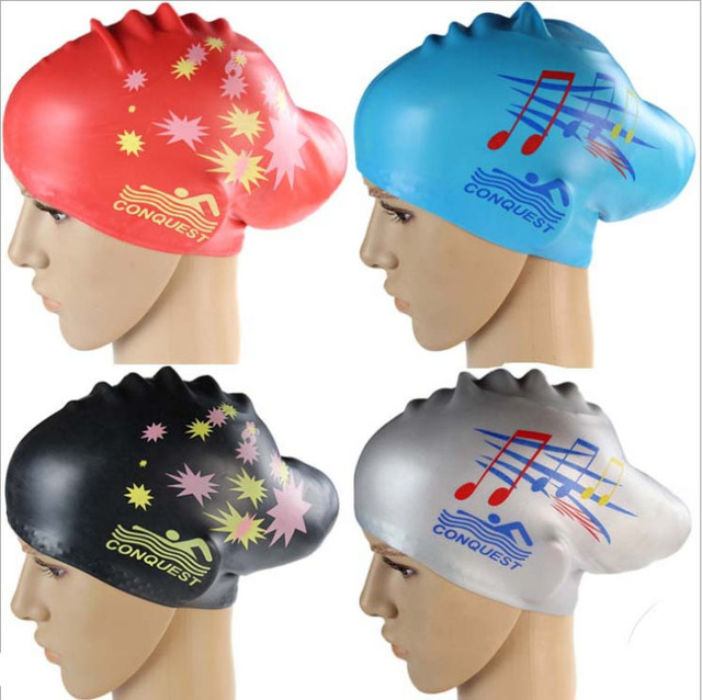Free shipping The new long-haired ladies waterproof silicone swimming cap silicone cap increase hair silicone cap star notes