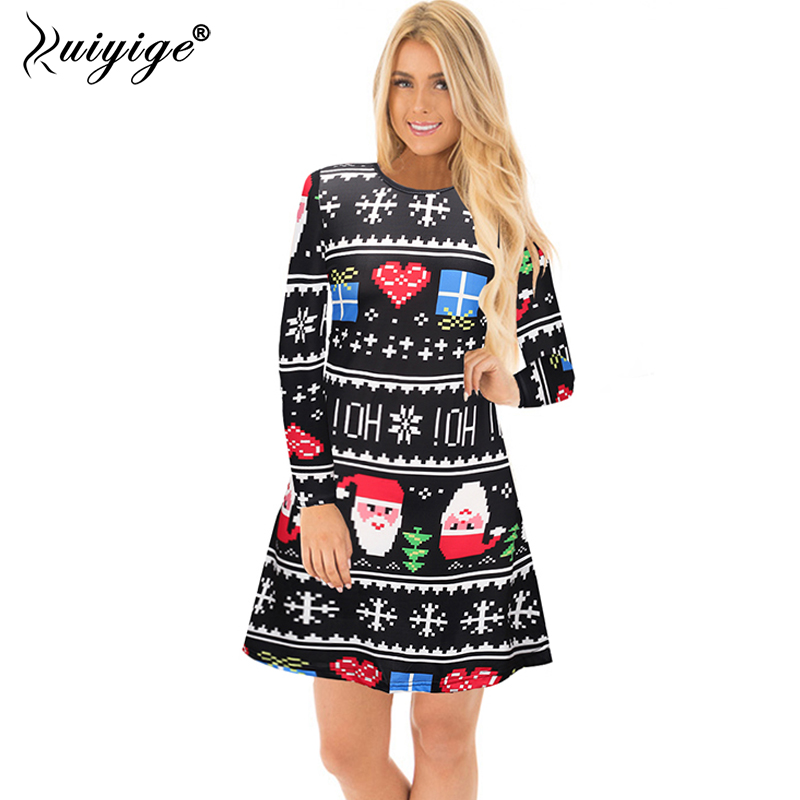 238bbdc30d4 Detail Feedback Questions about Ruiyige Christmas Party Dress Female 2018  Autumn Long Sleeve Casual Santa Print Short Dresses Xmas Cartoon New Year  Clothing ...