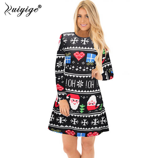 f554299dc5b8 Ruiyige Christmas Party Dress Female 2018 Autumn Long Sleeve Casual Santa  Print Short Dresses Xmas Cartoon