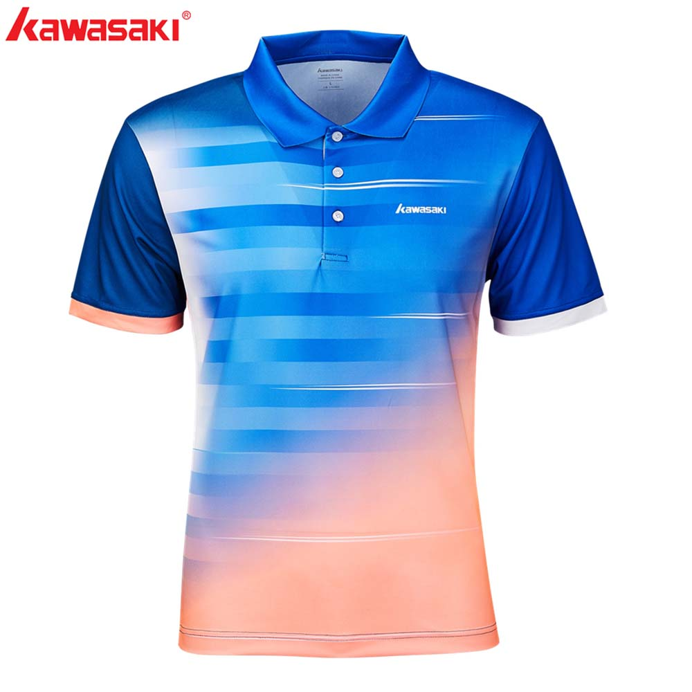 Kawasaki Men Table Tennis Shirts Polo Shirts Short Sleeve Quick Dry Polyester Men Blue Team Training Sports Clothing ST S1102