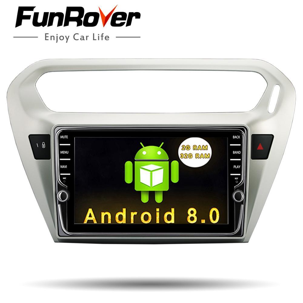Funrover 8''IPS Android8.0 2din Voiture DVD Lecteur multimédia de navigation pour Peugeot 301 Citroen Elysee 2014 + gps audio radio stéréo