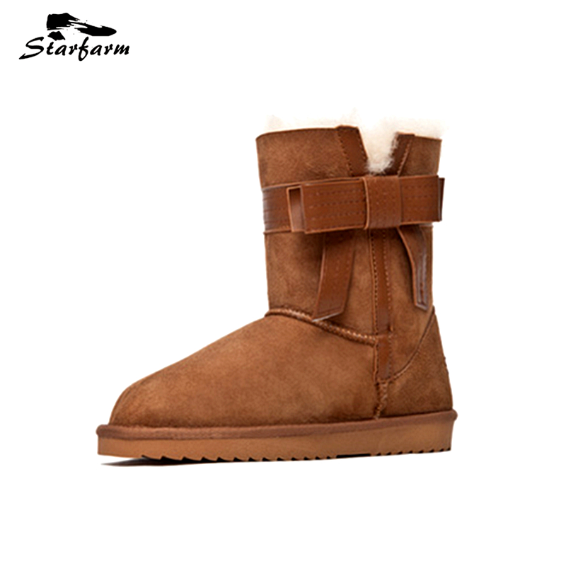 купить STARFARM Bowknot Bootie Wool Boots Ankle Boots Leather Bootie Winter Snow Boots Russian Boots Women Shoes Woman Warm Shoes Tan недорого
