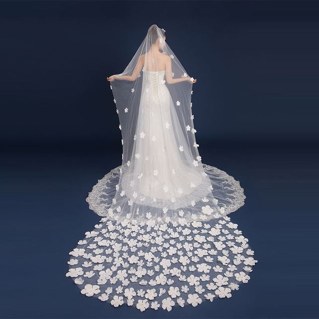 Wedding Accessories Bride Veils White Pink Petal  Meters Veu De Noiva Long Wedding Veils Bridal