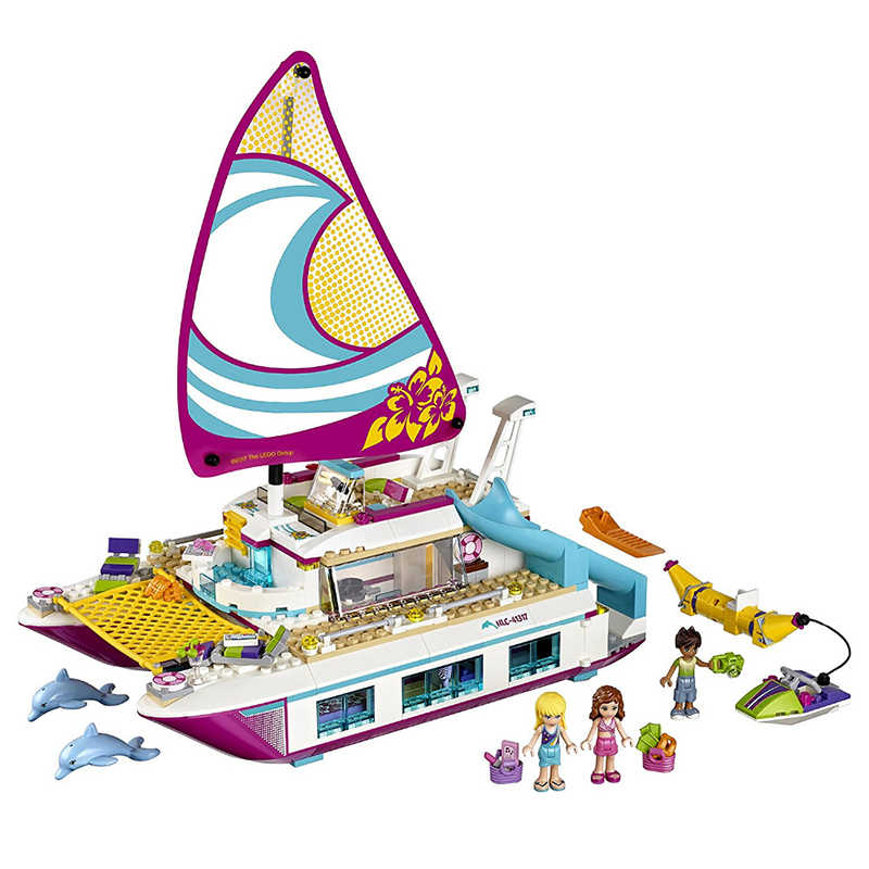 LEPIN 01038 Friends LegoINGlys Sunshine Catamaran Building Blocks Compatible Legoed Toys Classic Girl Kids Model Toys lepin 22001 pirate ship imperial warships model building block briks toys gift 1717pcs compatible legoed 10210