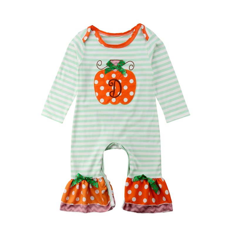 Toddler Girls Halloween Pumpkin   Rompers   Sunsuit Clothes Infant Baby Girl Striped   Romper   Jumpsuit Playsuit Overalls Clothing Tops