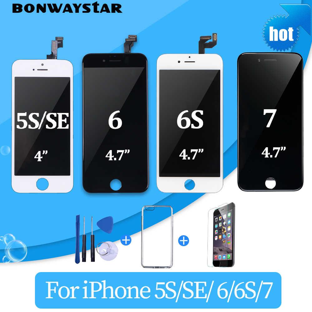 AAA + + + pantalla LCD para iPhone 6 7 8 pantalla táctil de reemplazo Montaje del digitalizador para iPhone 5S SE 6S pantalla LCD sin píxeles muertos