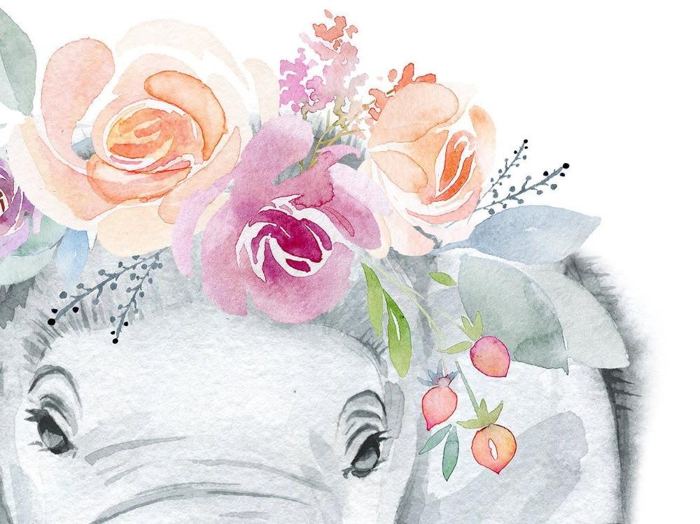 HTB1hvOaXvvsK1RjSspdq6AZepXaT Animals Floral Crown Art Decor Canvas Painting , Baby Girl Prints Animal Giraffe Elephant Lion Wall Art Picture Nursery Poster