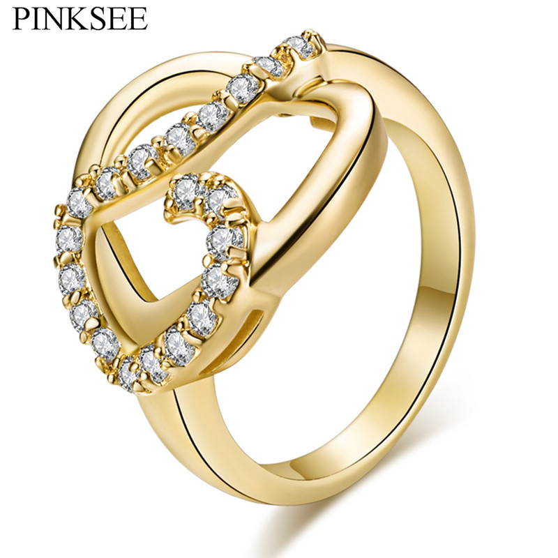 PINKSEE Gold Rhinestone Double Heart Ring For Women New Temperament Finger Jewelry Wedding Party Gifts