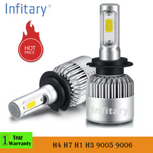 2 Pcs 12V 24V Car Headlight H4 LED H7 H1 H3 H11 H13 H27 HB3 HB4 9004 9005 9006 9007 72W 8000LM Auto Headlamp 6500K Light Bulb(China)