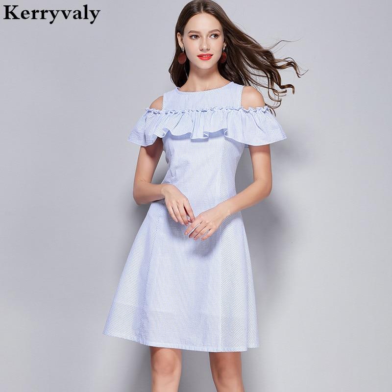 Summer Blue Off Shoulder Sexy Dress Ropa Mujer Verano 2019 Women Loose Ruffle Dress Vestidos De