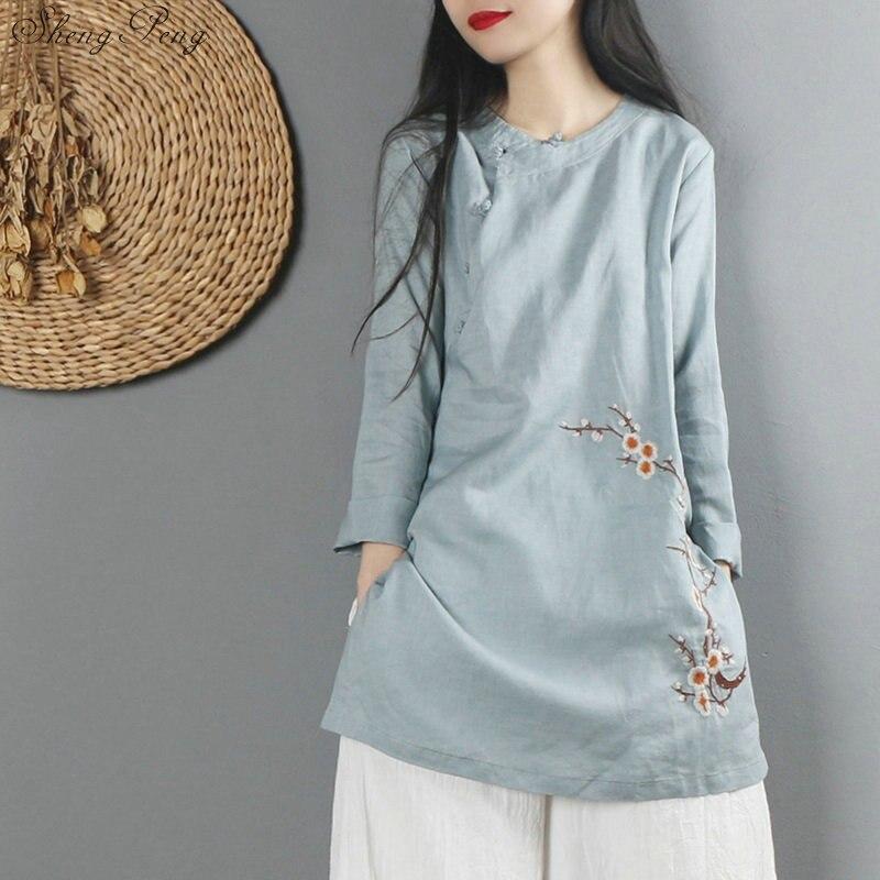 Chinois Han costume traditionnel chinois haut pour les femmes chine vêtements vent national G156