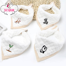 XCQGH 4PCS/LOT Gauze White Cute Baby Bibs Burp Cloth Triangle Boys Girls Embroidery Saliva Towel Newborn Infant Toddler Feeding