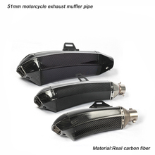 51mm Motorcycle Exhaust Muffler Pipe With Removable DB Killer Link  390mm 460mm 485mm Real carbon fiber Silencer System