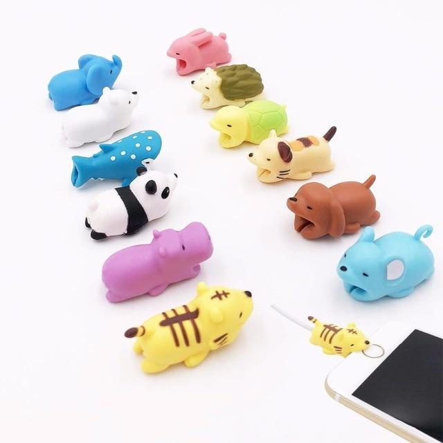 Nuevo enrollador de Cable lindo Animal Bite Cable Protector para iPhone Cable Chompers enrollador organizador Panda Bites muñeca soporte modelo