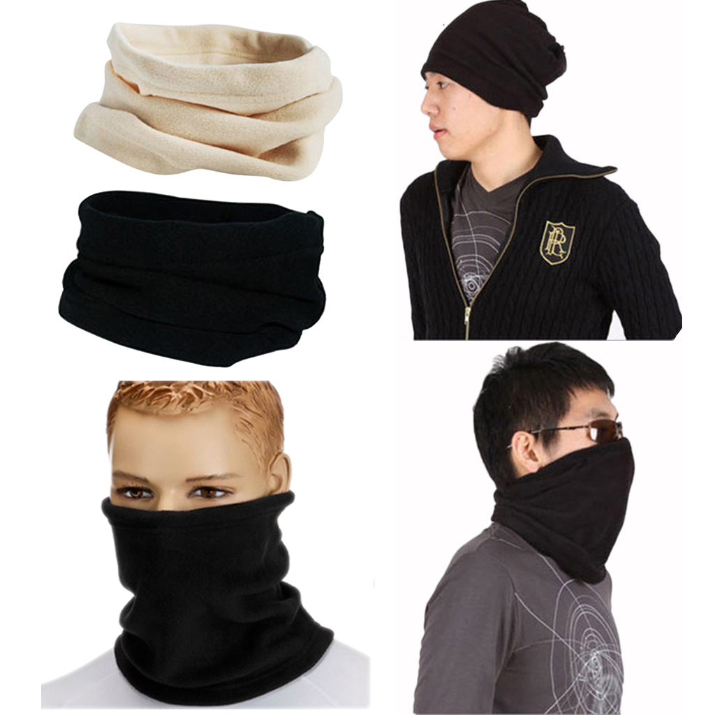 Pack of 2pcs Men Women Polar Fleece Neck Warmer Comfy Snood Scarf Ski Motorbike Masks