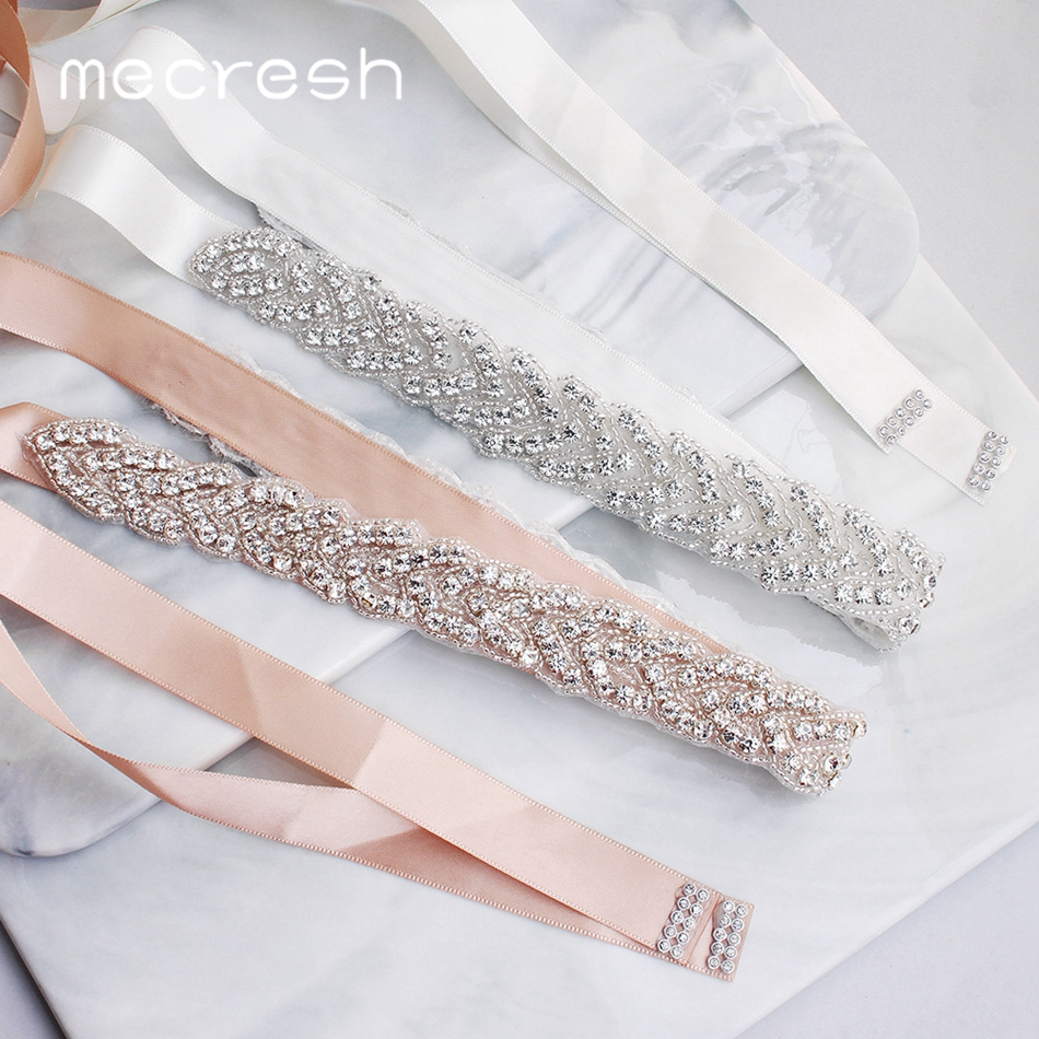 Mecresh Elegant Silver Rhinestones Wedding Belt Sash White Pink Ribbon Bridal Belt For Wedding Gown Wedding Accessories MYD022