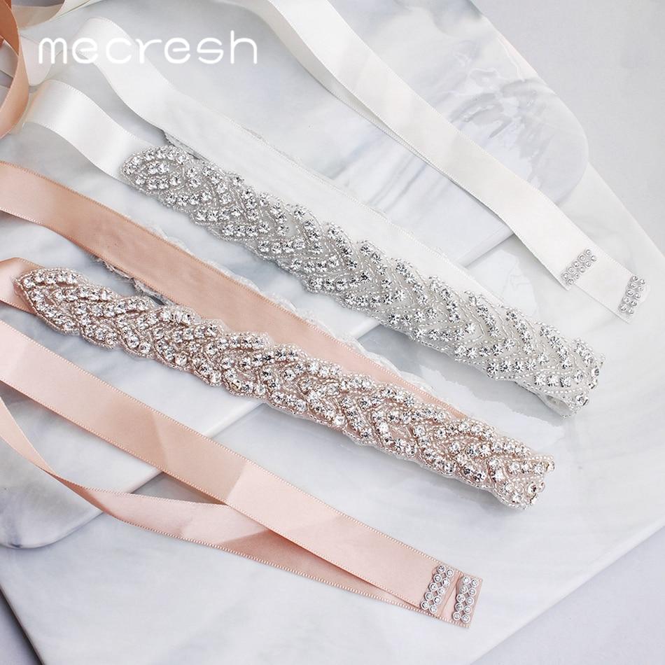 Mecresh Elegant Silver Rhinestones Wedding Belt Sash White Pink Ribbon Bridal Belt For Wedding Gown Wedding Accessories MYD022