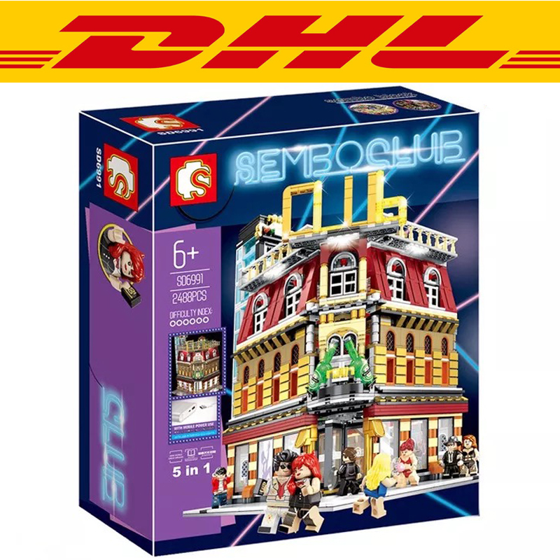 2017 NEW 2488Pcs City series LED nightclub club Model Building Kits Blocks Bricks Toys For Children Gift Compatible With 10182 prorab 2488 22x460