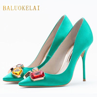 Fashion Green Shoes Woman High Heels Rhinestone Wedding Shoes Pumps Sexy Pointed Toe High Heels Ladies