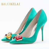 Fashion Green Shoes Woman High Heels Rhinestone Wedding Shoes Pumps Sexy Pointed Toe High Heels Ladies