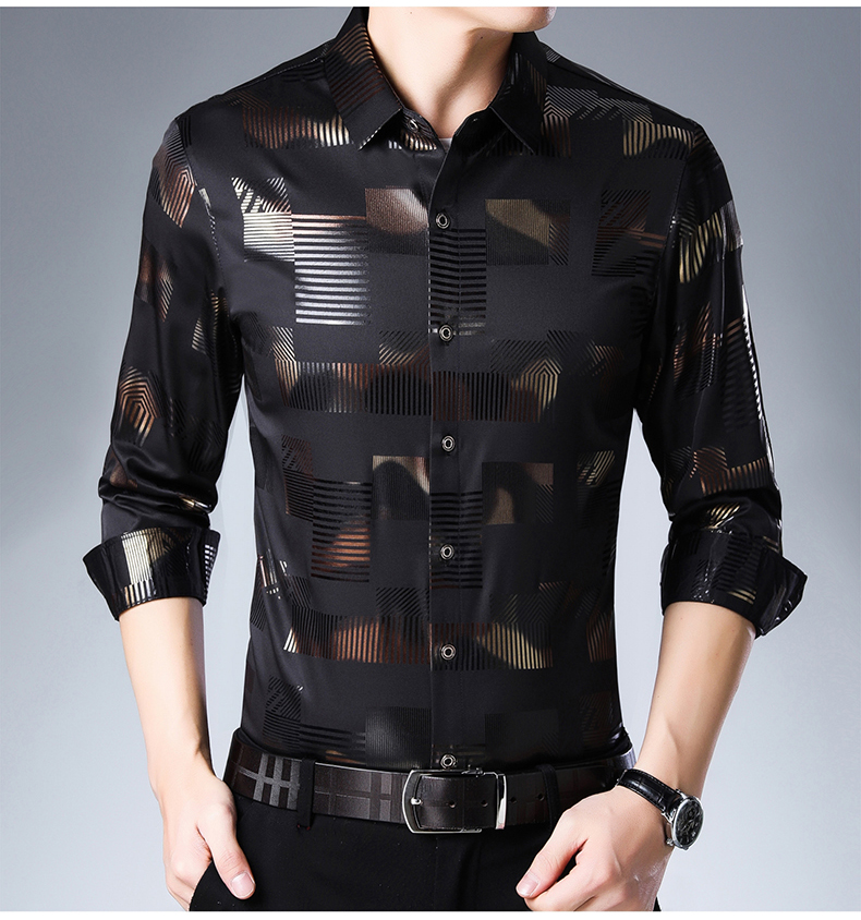 Casual Spring Luxury Plaid Long Sleeve Slim Fit men Shirts