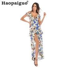 Женское Асимметричное Платье с принтом летнее пляжное платье