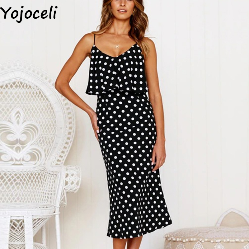 Yojoceli Ruffle elegant polka dot long dress women Summer leopard pencil party strap dress female Casual daily sexy sundresses polka dot