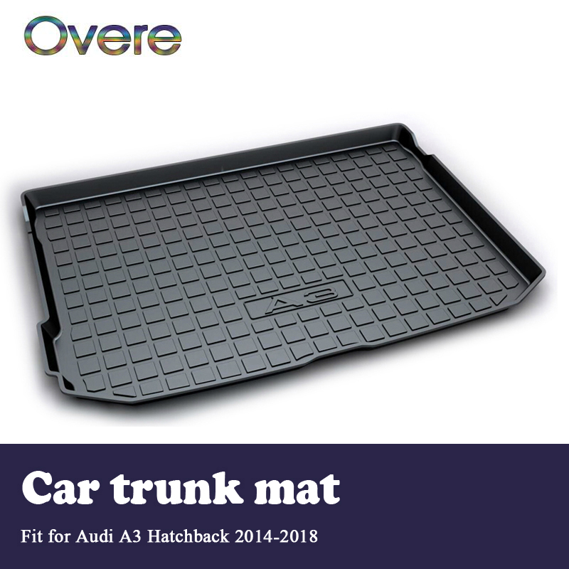 Overe 1Set Car Cargo rear trunk mat For Audi A3 Hatchback 2014 2015 2016 2017 2018 Styling Liner Tray Anti-slip mat Accessories overe 1set car cargo rear trunk mat for audi a1 2012 2013 2014 2015 2016 2017 liner tray waterproof anti slip mat accessories