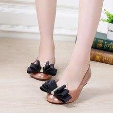 Melissa fashion woman jelly shoes lady flat rain sandals women student girls summer travel beach sandal pointed toe 36-40 bowtie