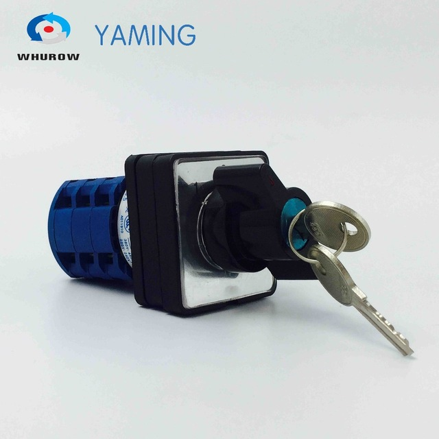 Cam switch LW26-20/3S with key to lock positons silver contact 20A 3 poles 3 positions 1-0-2 electrical rotary switch цены онлайн