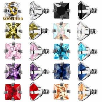 G23titan 2pc/lot 10 Colors Zircon Body Piercing Balls 16G Internally Threaded Screw for Lip Eyebrow Ear Piercing Jewelry