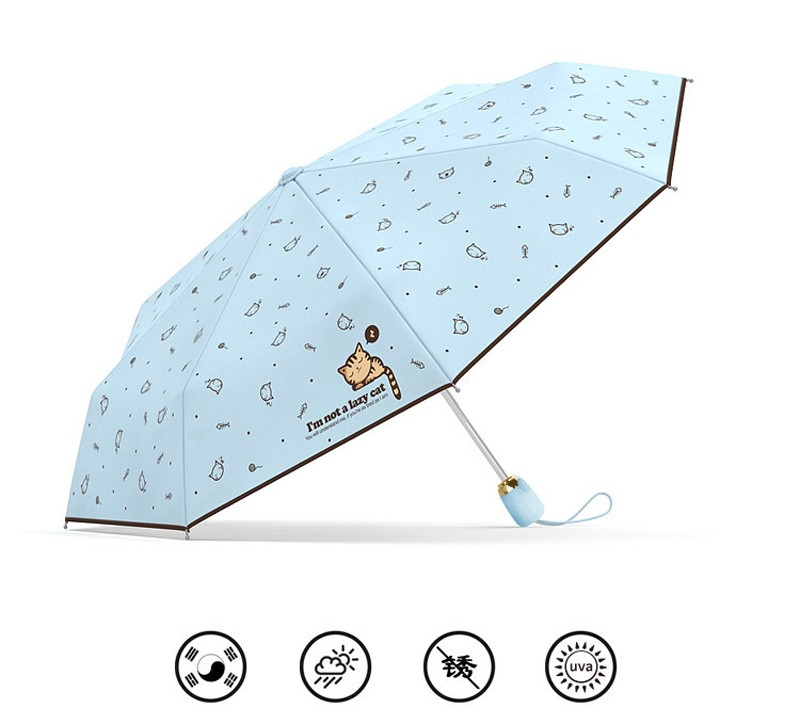 Cartoon Lazy Cat Auto OpenClose Folding Umbrella Rain Women Men Sun Umbrella Anti-UV Windproof Automatic Parasol Mini8