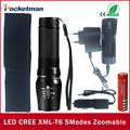 100% AUTHENTIC CREE XML T6 4000LM Torches Zoomable LED Flashlight Torch linternas For 3xAAA or 1x18650 Rechargeable Battery