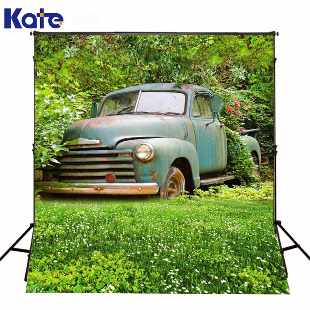 5Ft*6.5Ft(150Cm*200Cm) Photography Backdrops Meadow Shabby Car Classical For Children Background Photographic Studio Background