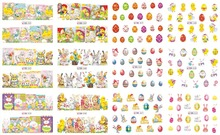 Nail Art Water Tattoo Design 12 Sheets In One(12 pcs/Lot) Manicure Easter Transfer Sticker Decals BN541-552