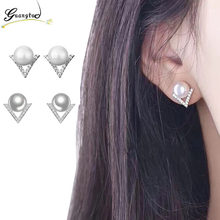 Grace Simple White Gray Crystal Stud Earrings For Women Fashion Jewelry Bijoux Brincos boucle d'oreille Simulated Pearls Earring(China)