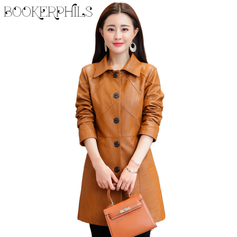 2019 Winter Women Jackets Soft Faux   Leather   Jacket Plus Size Single Breasted Autumn PU   Leather   Coat Female Windbreakers M-4XL