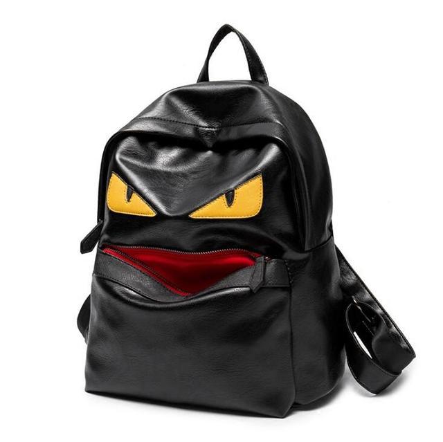 men Backpack Black Preppy Style monster School Backpacks Funny Quality Pu  Leather Fashion Women Shoulder Bag Travel Back Pack 785e691f6d2c9