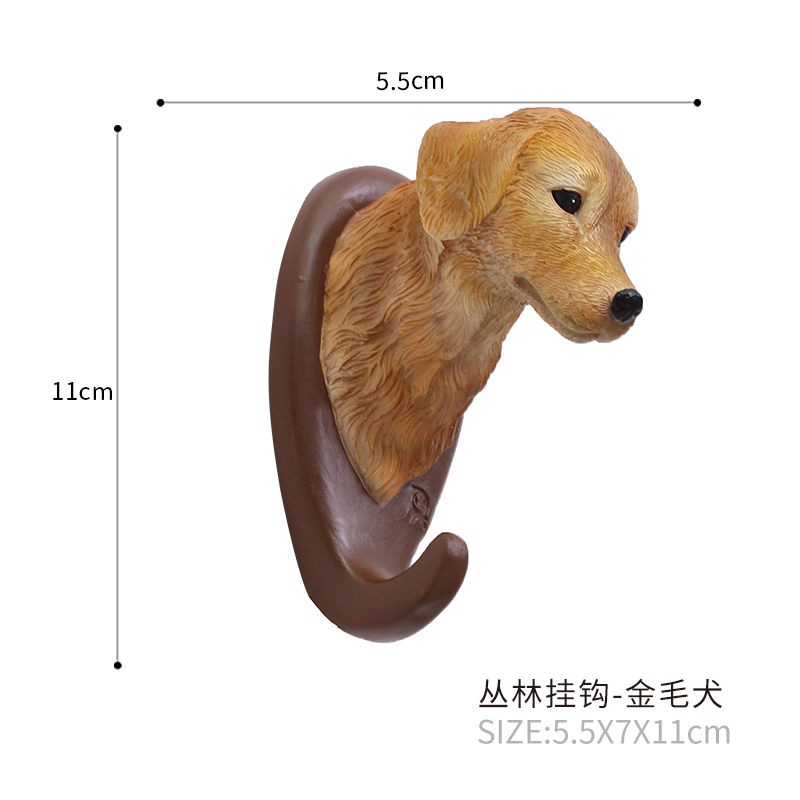 Roogo Golden Retriever dog head simulation multi-purpose hooks decorative puppy wall for bags lovely hat bag hanging decoration