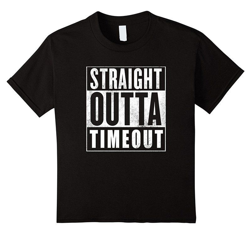 Shirt Shop O-Neck Short Straight Outta Out Of Timeout 100% Cotton Mens Tee
